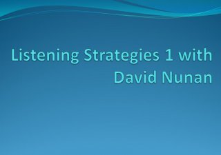 Listening Strategies 1 with David Nunan free download