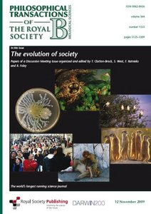 Evolution of Society (Philosophical Transactions of the Royal Society series B) free download