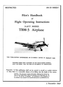 Pilots Handbook of Flight Operating Instructions NAVY MODEL TBM-3 Airplane free download