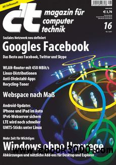 ct Magazin fur Computertechnik No 16 vom 18 Juli 2011 free download
