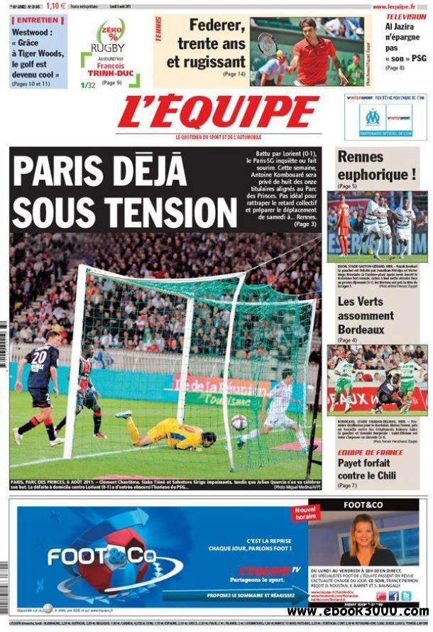 L'EQUIPE (8 Aout 2011) free download