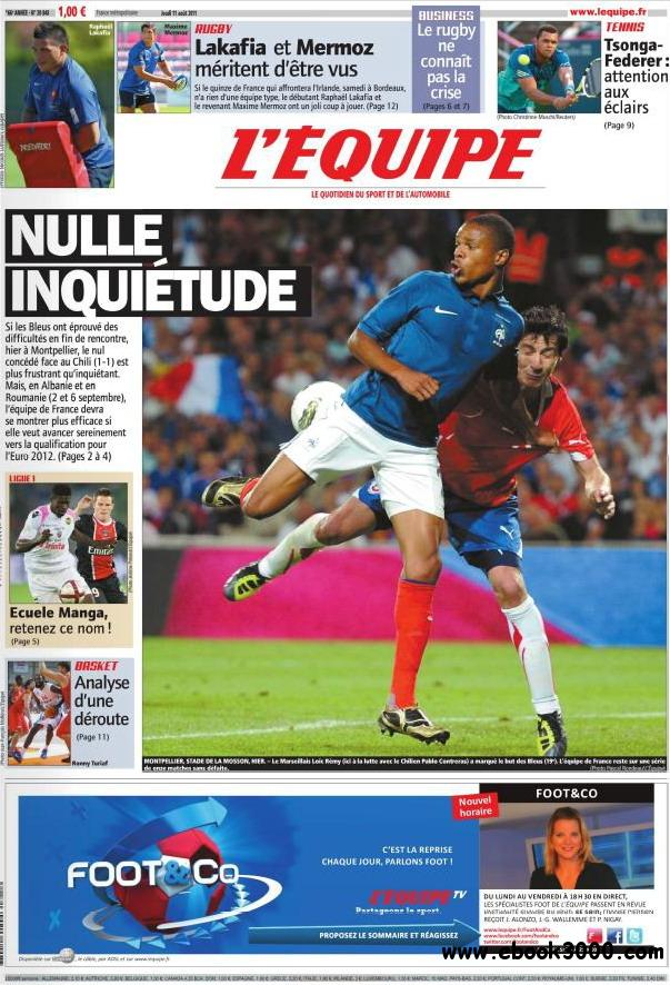 L'EQUIPE (11 Aout 2011) free download