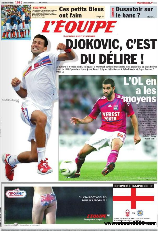 L'EQUIPE (16 Aout 2011) free download