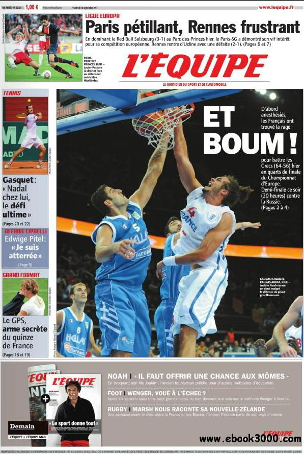 L'EQUIPE (16 Septembre 2011) free download