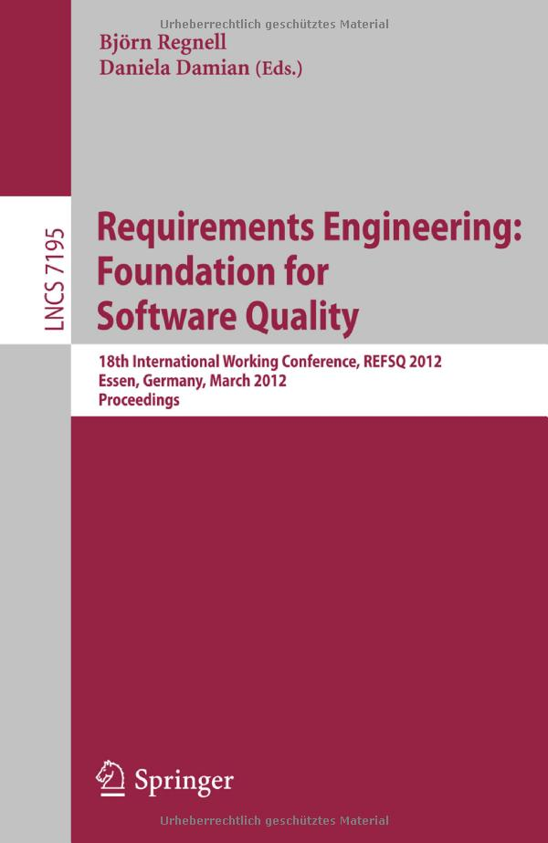 Requirements Engineering: Foundation for Software Quality free download