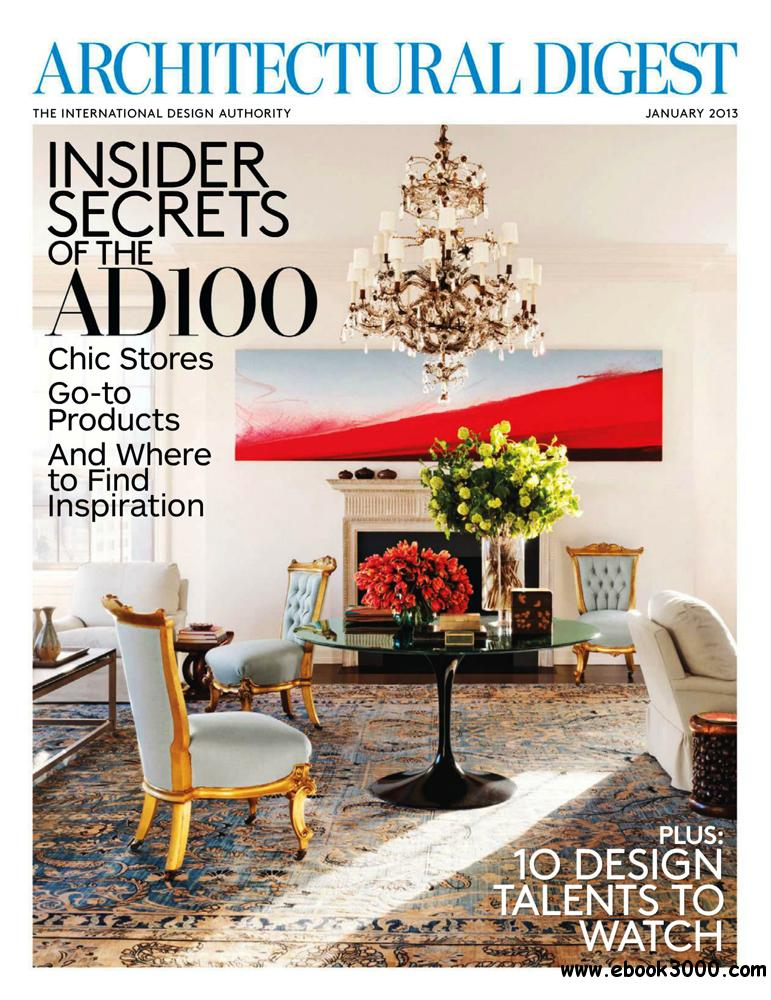 Architectural digest january 2013 usa free ebooks download for Free architectural magazines