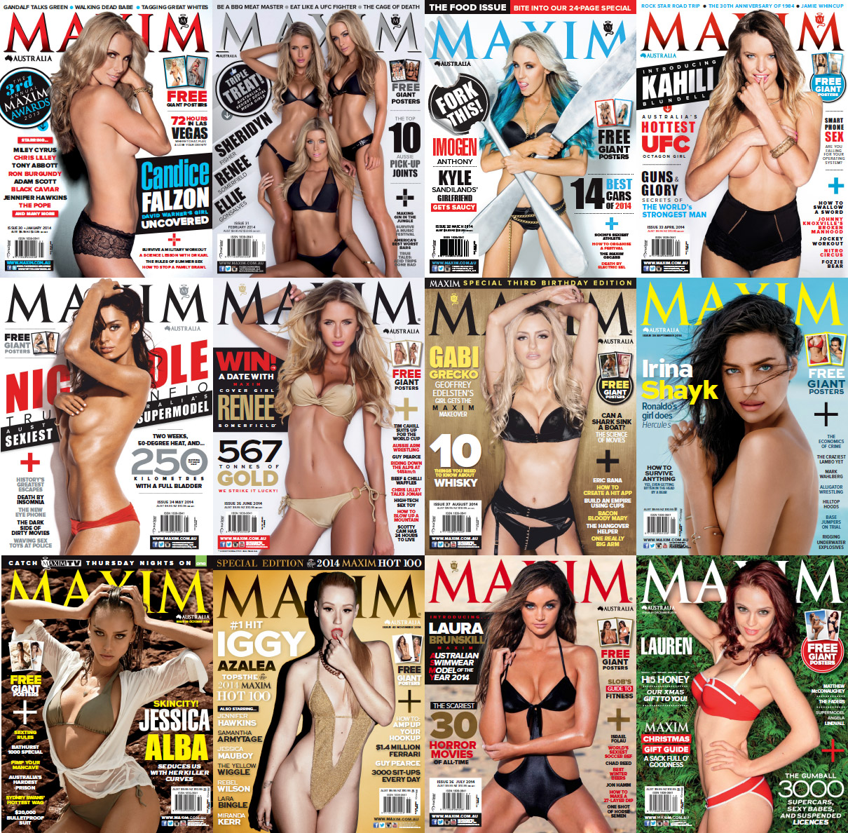 Maxim Australia Magazine - Full Year 2014 Issues Collection free download