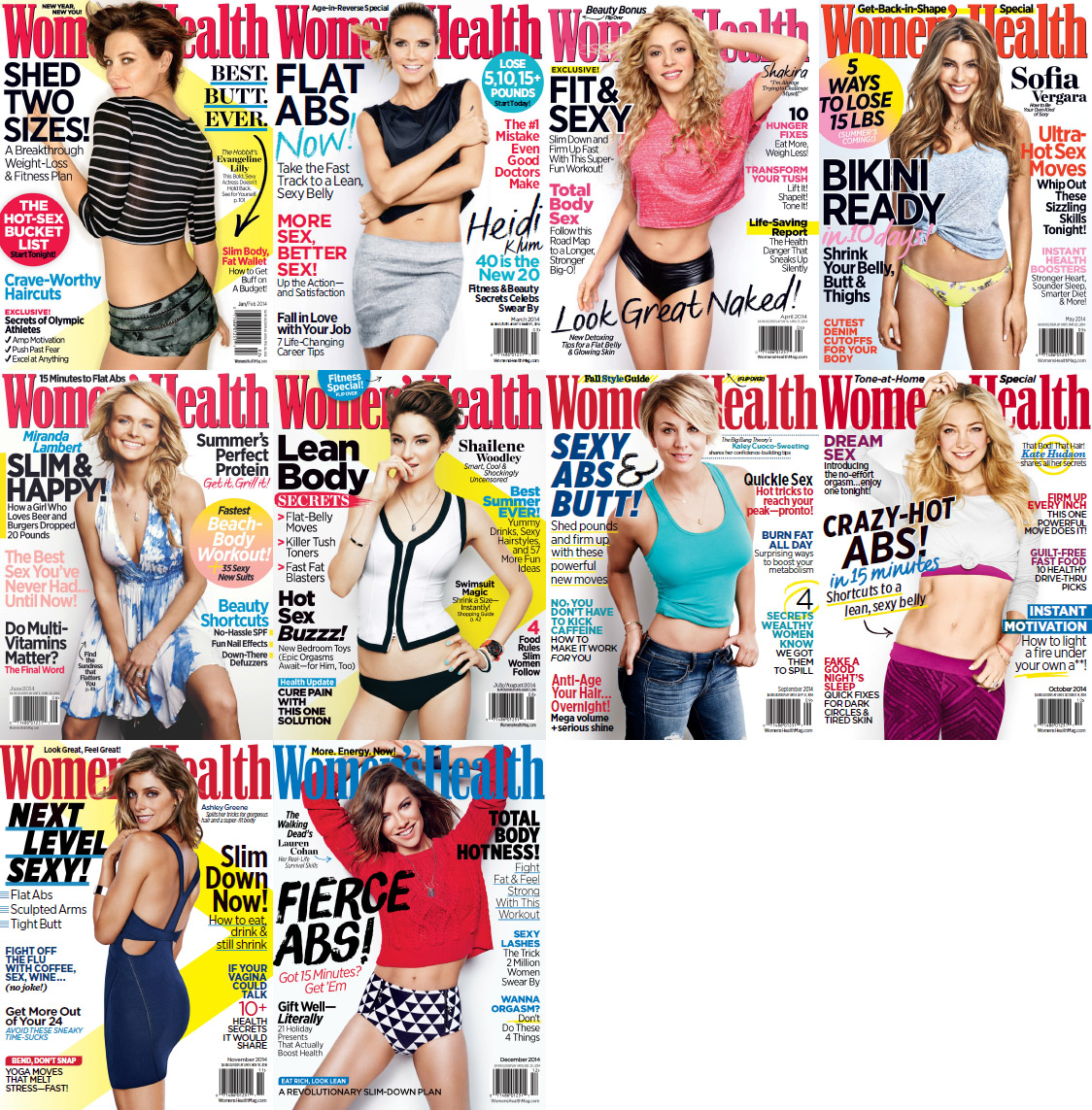 Women's Health USA Magazine - 2014 Full Year Issues Collection free download