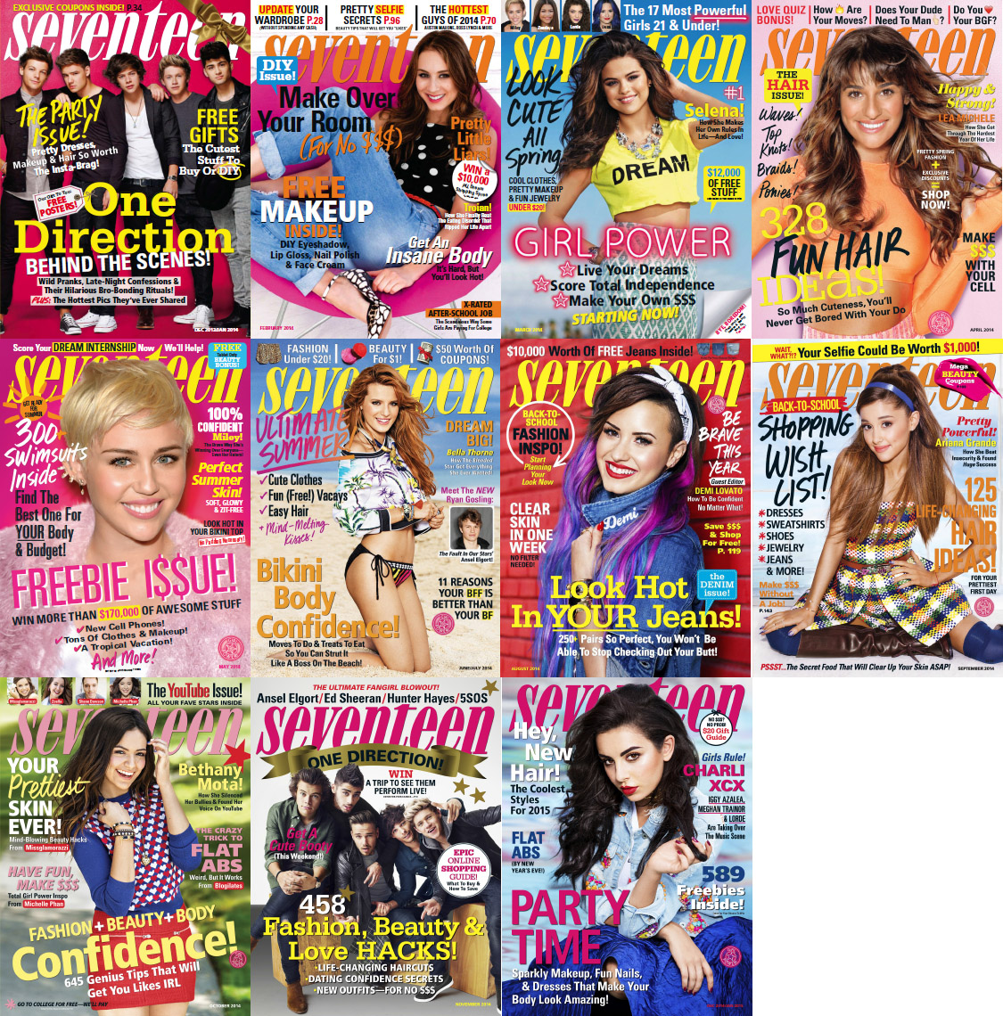 Seventeen USA Magazine - 2014 Full Year Issues Collection free download