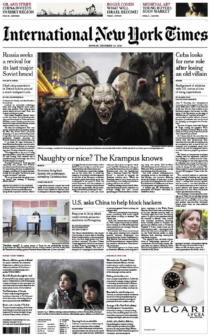 International New York Times - Monday, 22 December 2014 free download