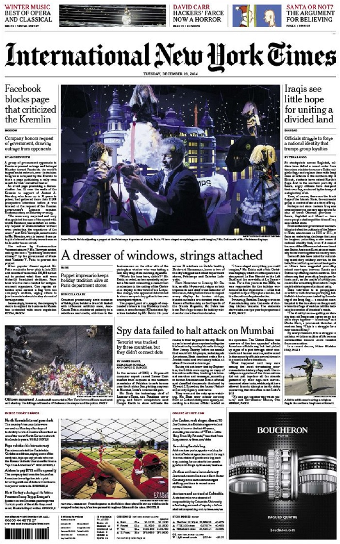 International New York Times - Tuesday, 23 December 2014 free download