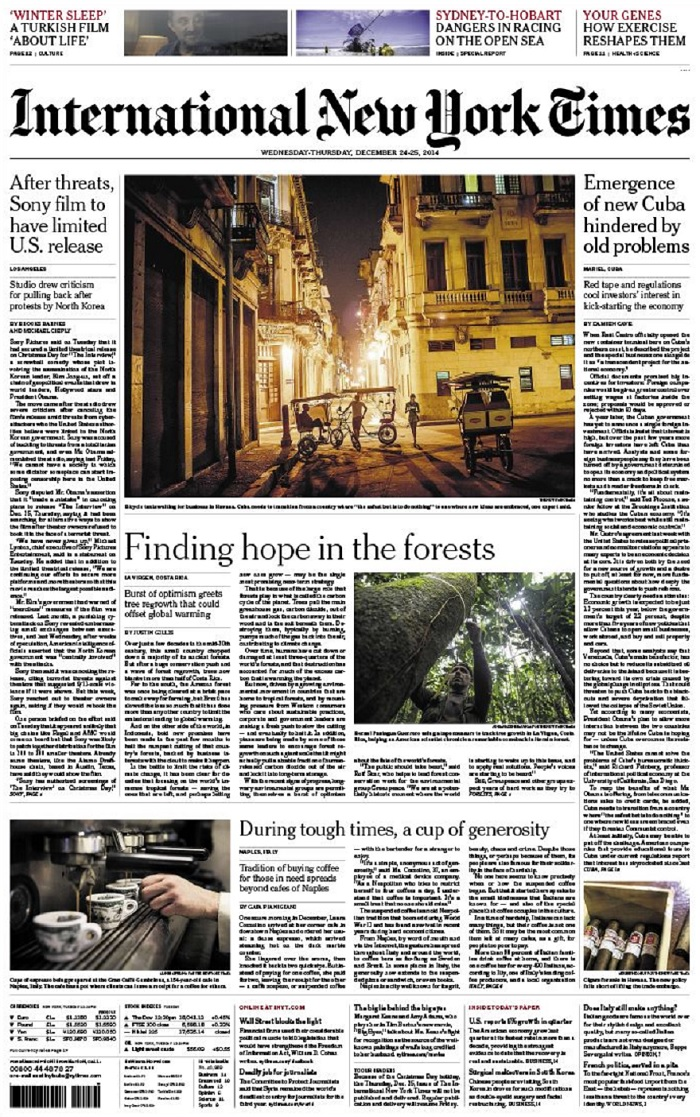 International New York Times - Wednesday-Thursday, 24-25 December 2014 free download