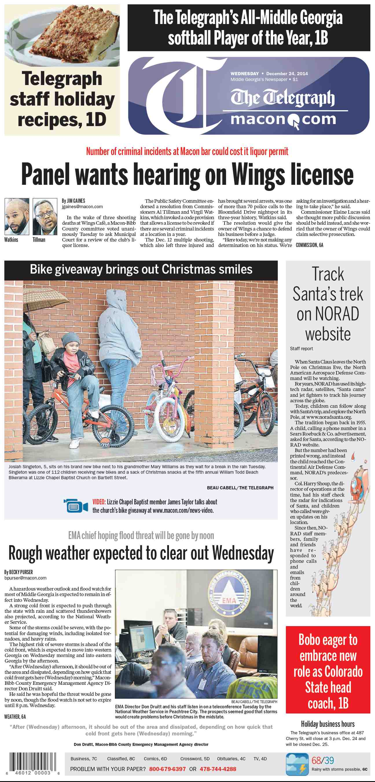 The Telegraph Macon  December 24, 2014 free download
