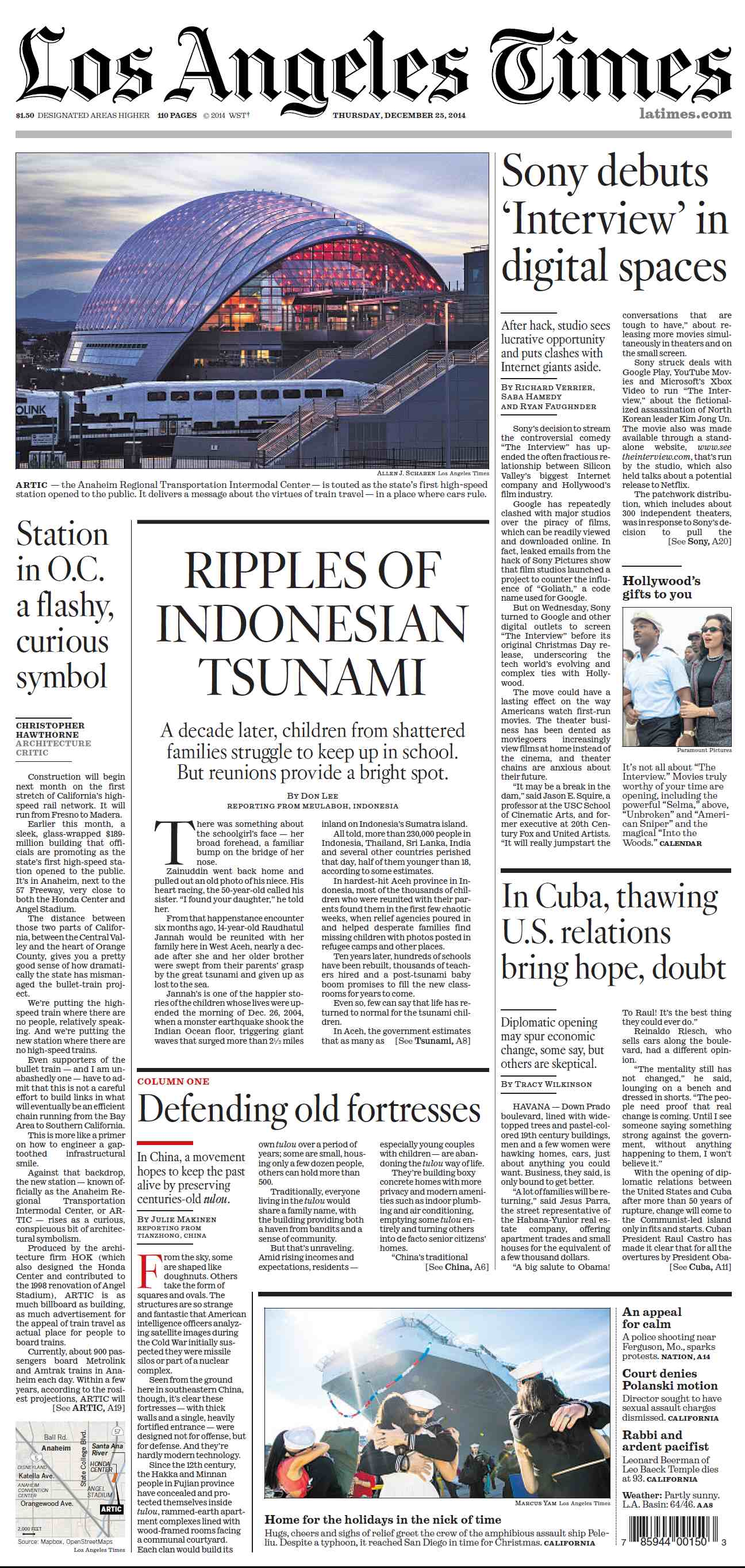 Los Angeles Times  December 25, 2014 free download