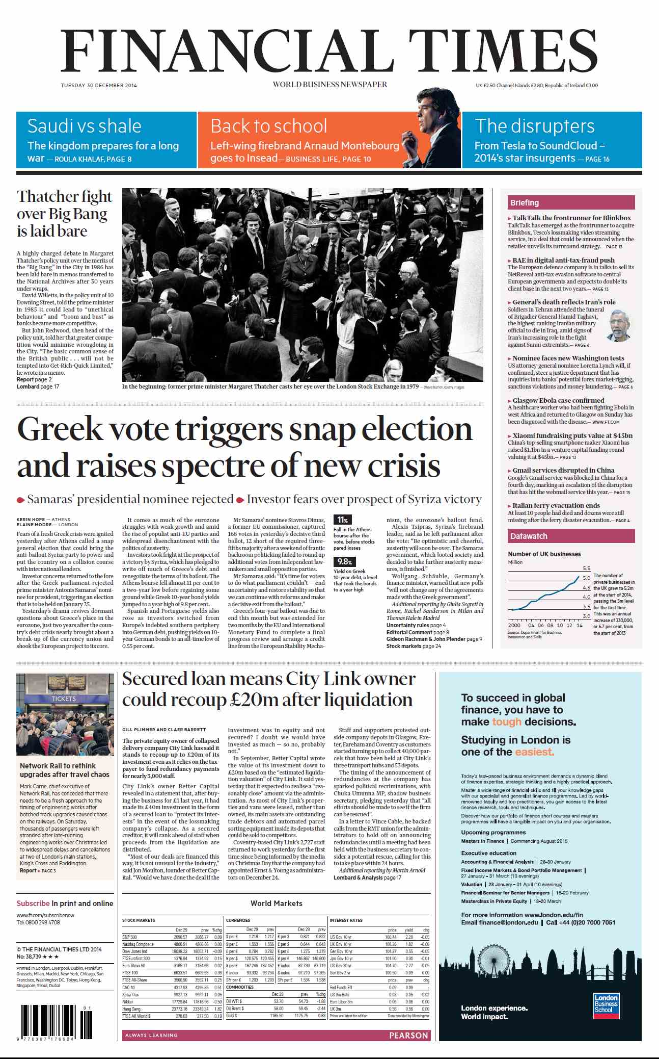 Financial Times  December 30, 2014 free download