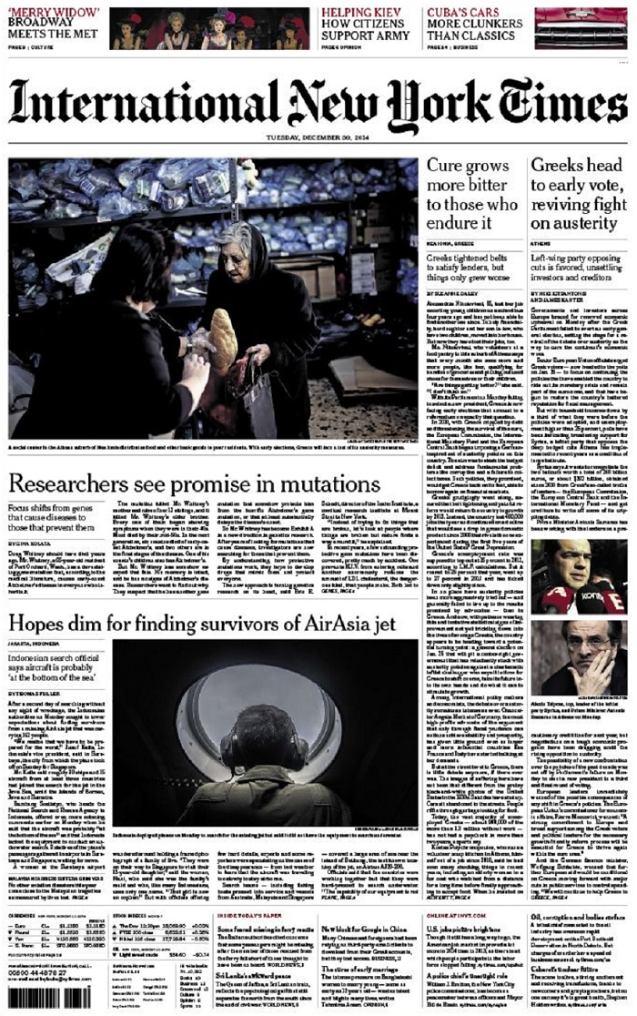 International New York Times - Tuesday, 30 December 2014 free download