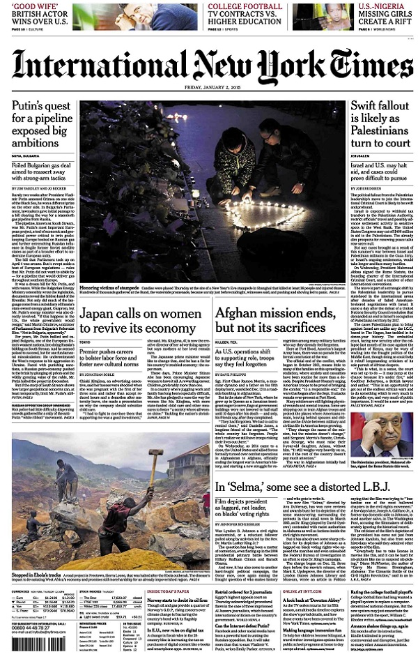 International New York Times - Friday, 2 January 2015 free download