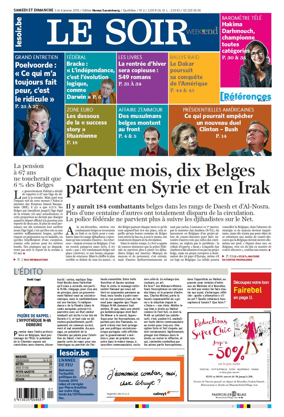 Le Soir du 03 Janvier 2015 free download
