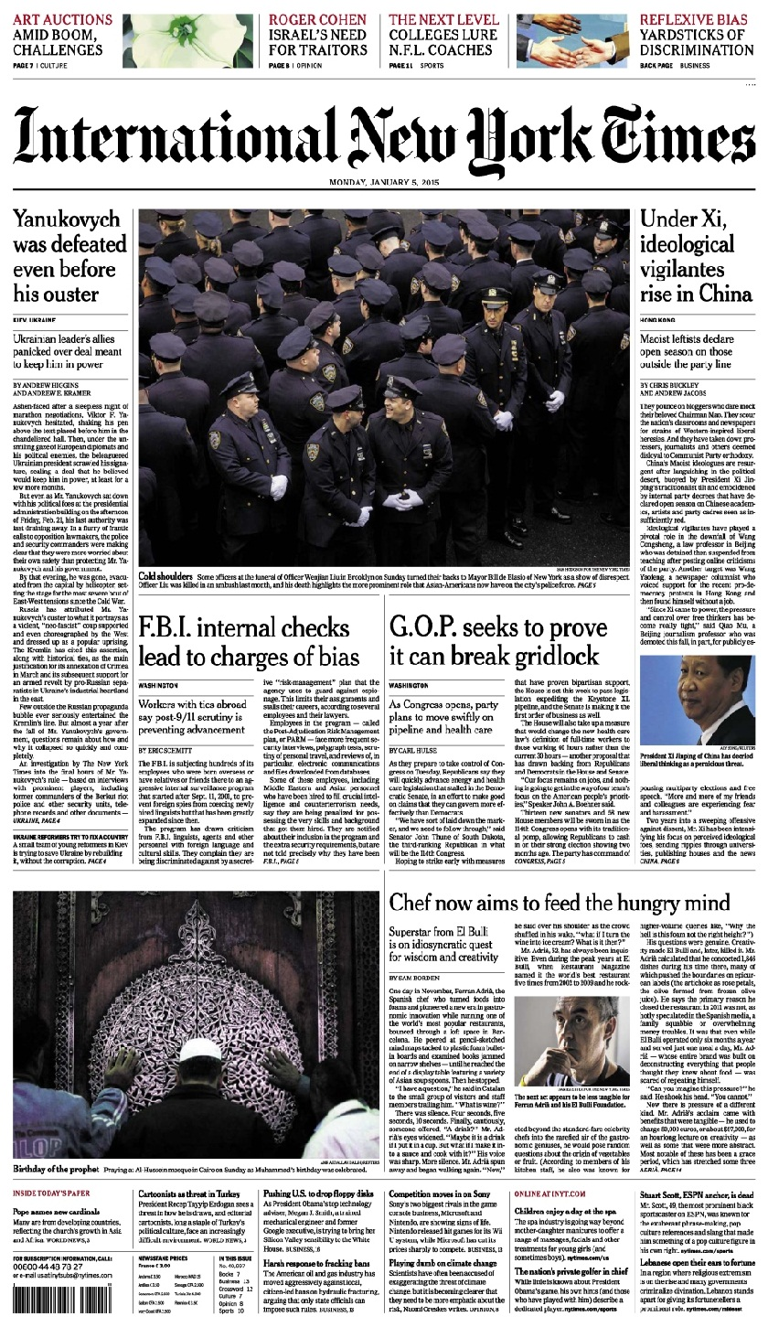 International New York Times - Monday 5 January 2015 free download