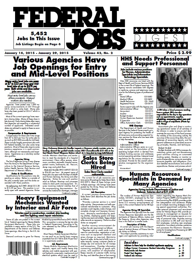 Federal Jobs Digest - 16 January 2015 free download