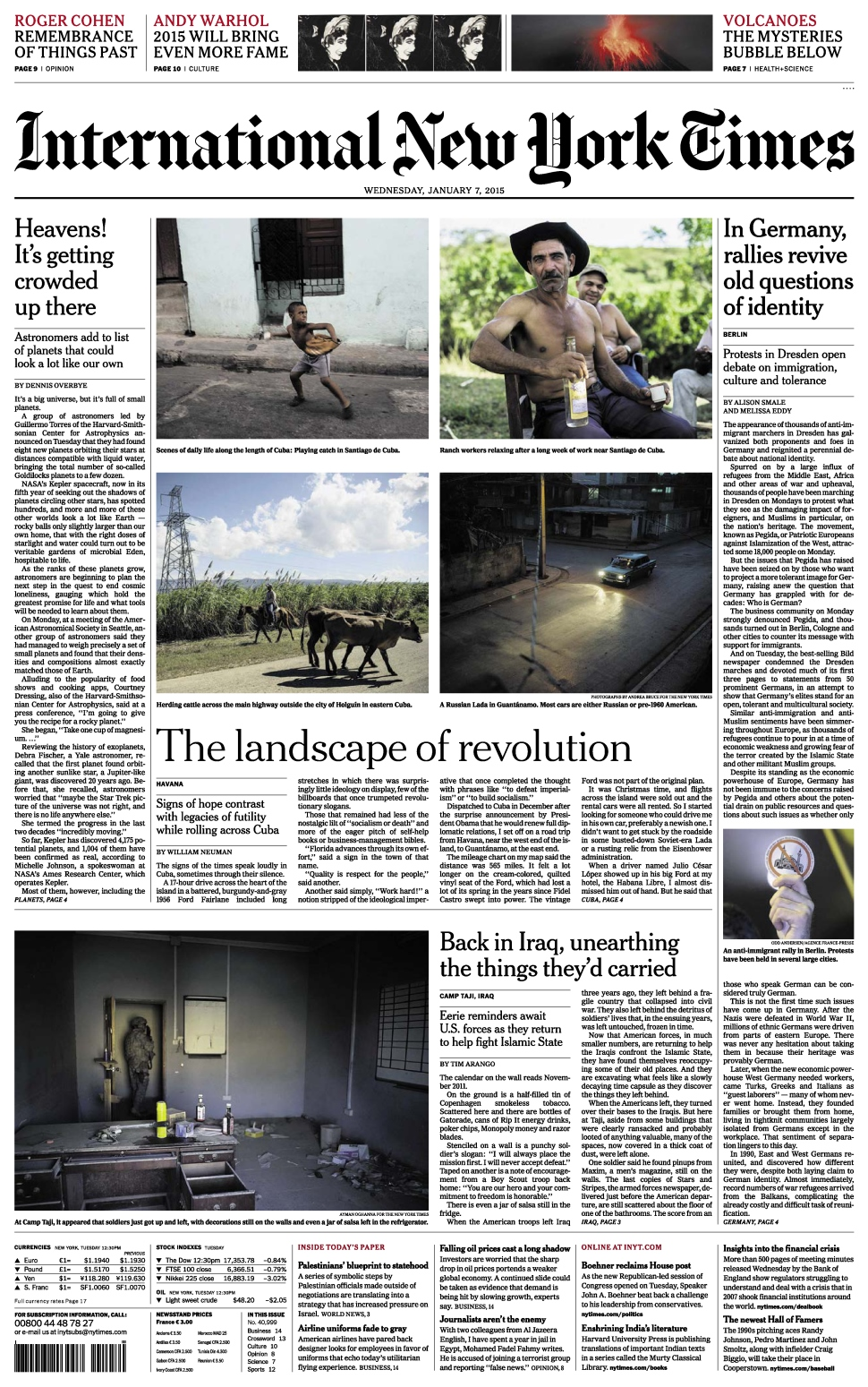 International New York Times - Wednesday 7 Januray 2015 free download