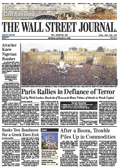 Wallstreet Journal Europe 12 January 2015 free download
