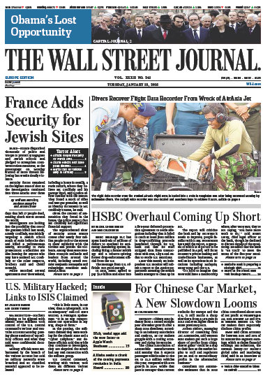 Wallstreet Journal Europe 13 January 2015 free download