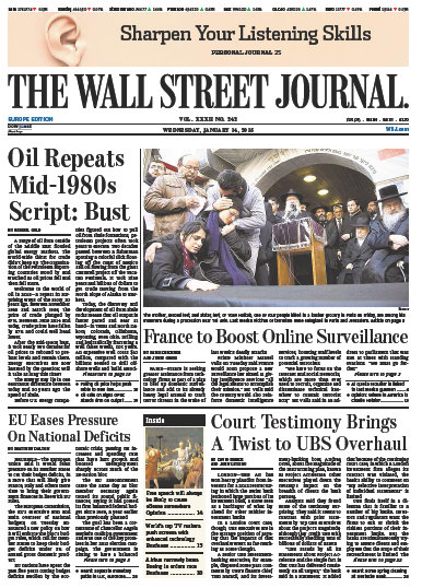 Wallstreet Journal Europe 14 January 2015 free download