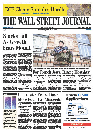Wallstreet Journal Europe 15 January 2015 free download