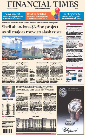 Financial Times Europe 15 January 2015 free download