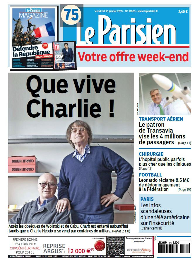 Le Parisien + Journal de Paris du Vendredi 16 Janvier 2015 free download