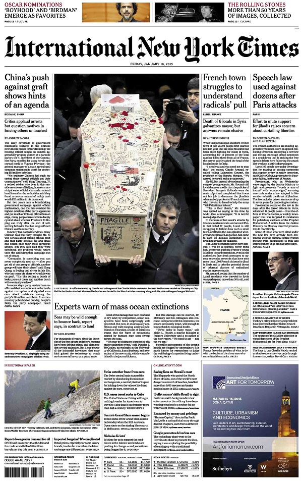 International New York Times - Friday, 16 January 2015 free download