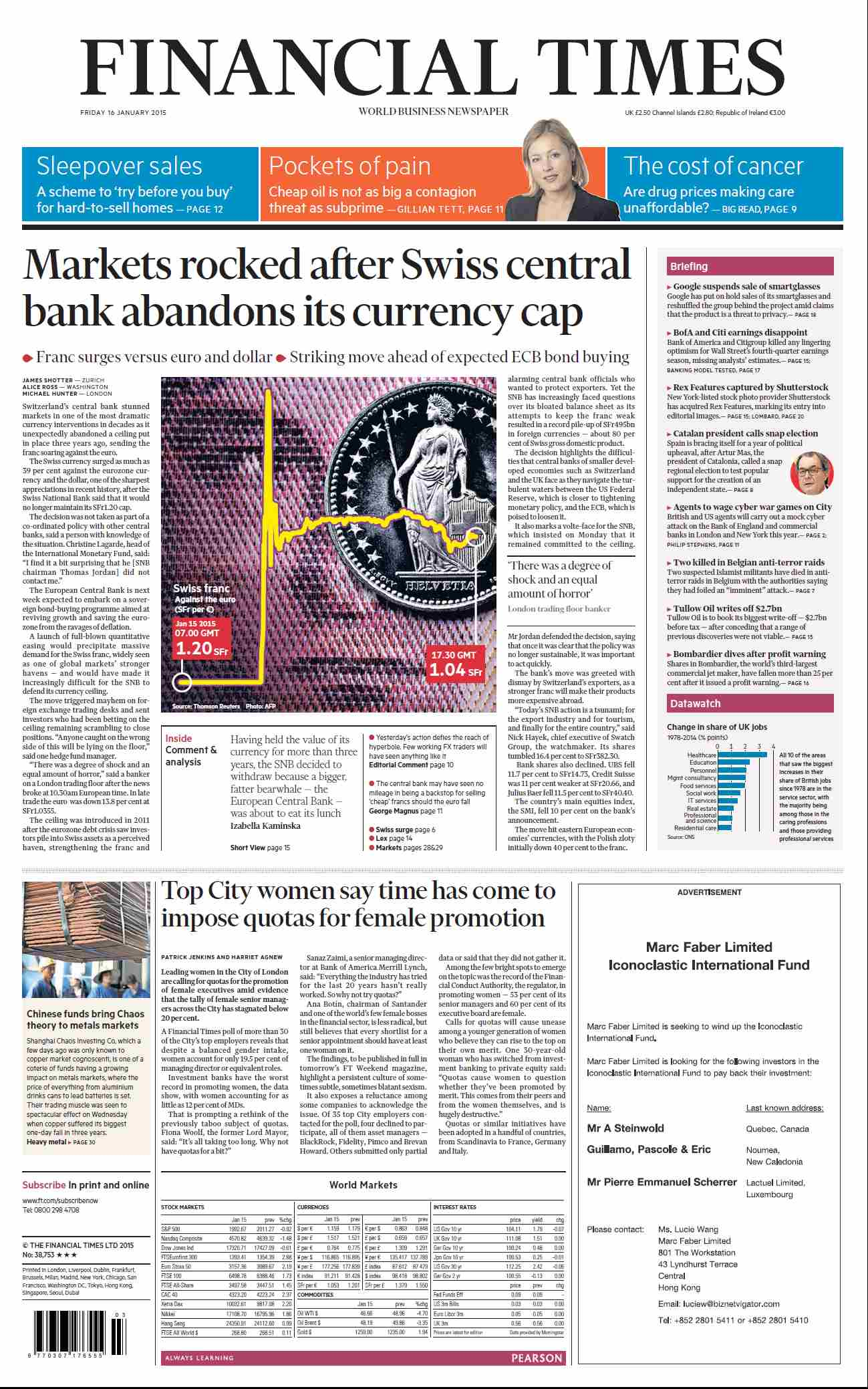 Financial Times UK January 16, 2015 free download
