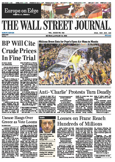 Wallstreet Journal Europe 19 January 2015 free download
