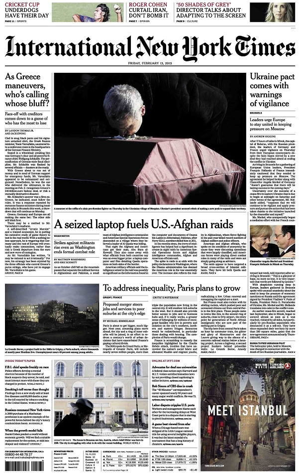 International New York Times - Friday, 13 February 2015 free download