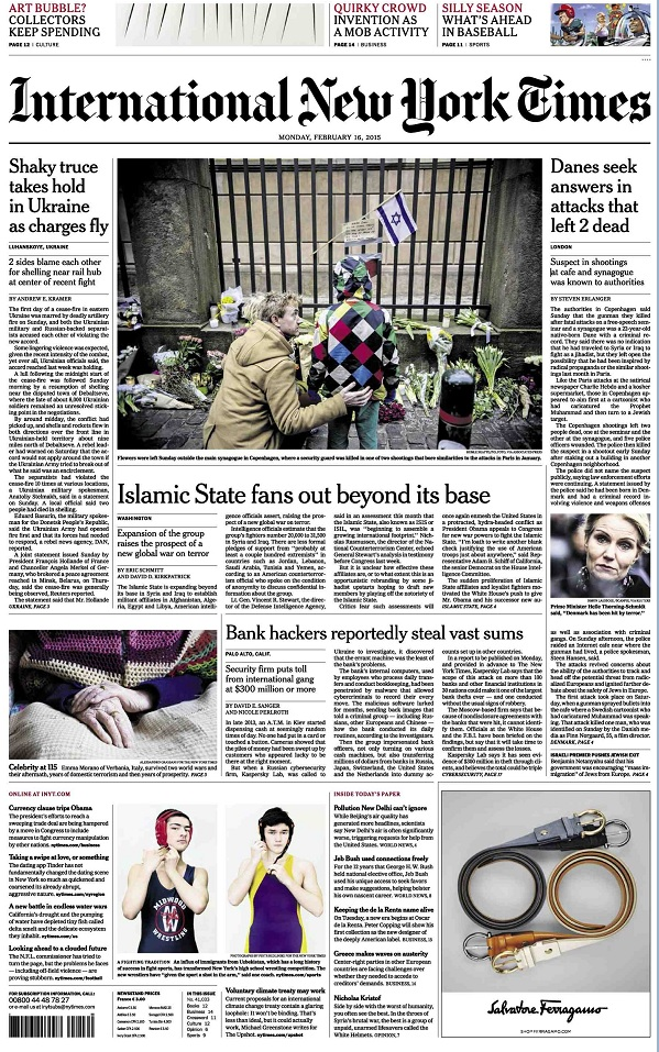 International New York Times - Monday, 16 February 2015 free download