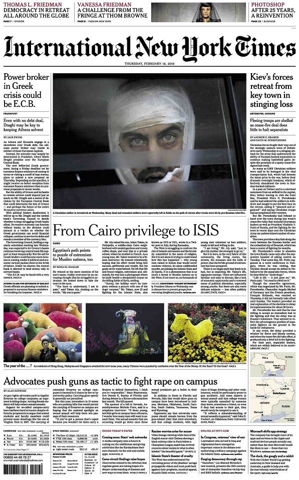 International New York Times - Thursday, 19 February 2015 free download