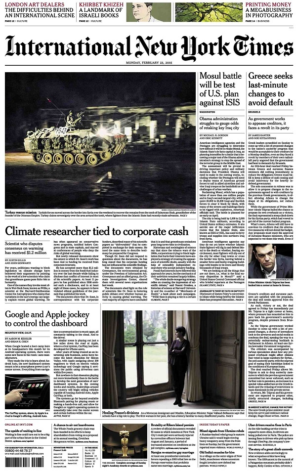 International New York Times - Monday, 23 February 2015 free download