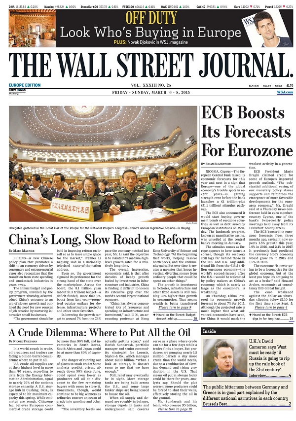 The Wall Street Journal Europe - Friday-Sunday, 6-8 March 2015 free download