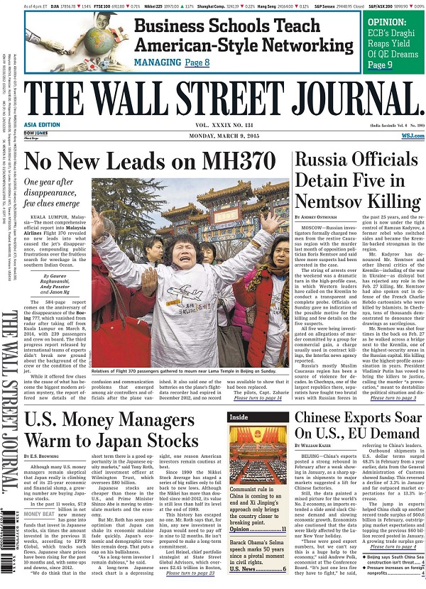 The Wall Street Journal - Monday, 9 March 2015 / Asia free download