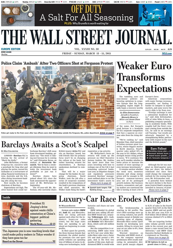 The Wall Street Journal Europe - Friday-Sunday, 13-15 March 2015 free download