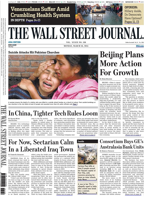 The Wall Street Journal - Monday, 16 March 2015 / Asia free download