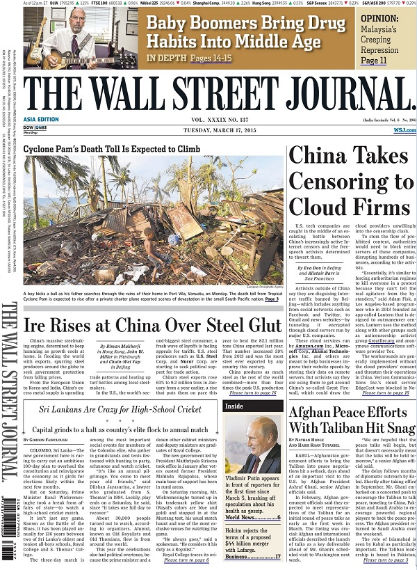 The Wall Street Journal - Tuesday, 17 March 2015 / Asia free download
