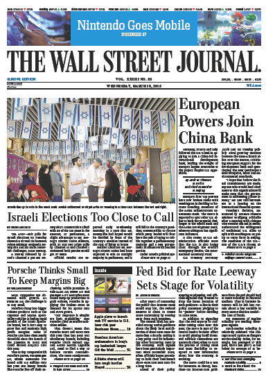 Wallstreet Journal Europe 18 March 2015 free download