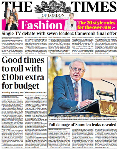 The London Times March 18 2015 free download