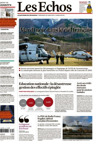 Les Echos du Mercredi 25 Mars 2015 free download