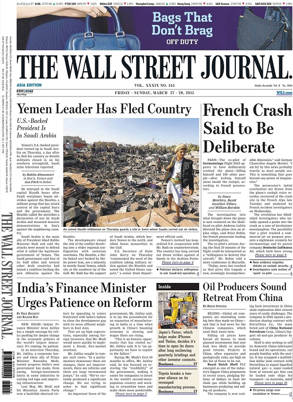 The Wall Street Journal - Friday-Sunday, 27-29 March 2015 / Asia free download