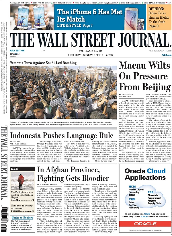 The Wall Street Journal - Thursday-Sunday, 2-5 April 2015 / Asia free download