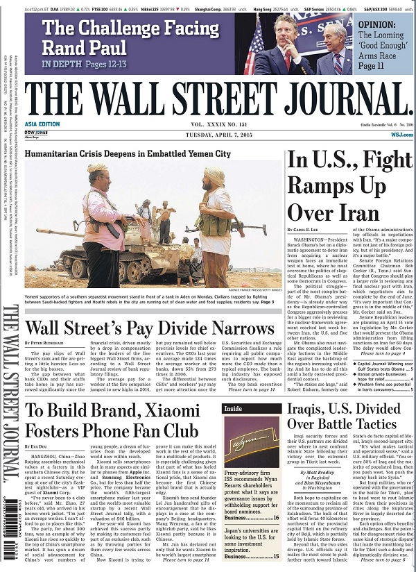 The Wall Street Journal - Tuesday, 7 April 2015 / Asia free download