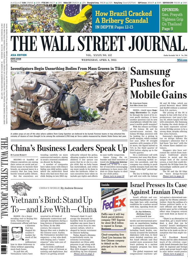 The Wall Street Journal - Wednesday, 8 April 2015 / Asia free download